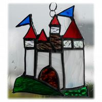 Castle Suncatcher Stained Glass Fairytale Handmade 010