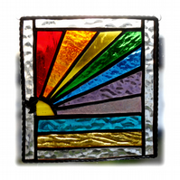 Rainbow Beach Stained Glass Suncatcher Handmade 018