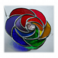 Rainbow Curls Stained Glass Suncatcher Abstract 007