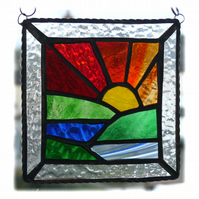 Setting Sun Picture Suncatcher Stained Glass Handmade Sunset 023