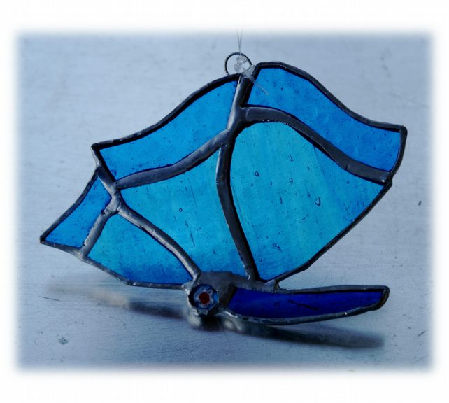 Butterfly Suncatcher Stained Glass teal  Closed Wing
