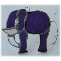 Elephant Suncatcher Stained Glass Purple Little 076