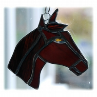 Horse Suncatcher Stained Glass Horsehead Brown 077