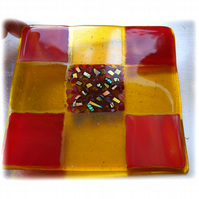 Fused Glass Trivet Red Yellow Trivet 16cm Dichroic