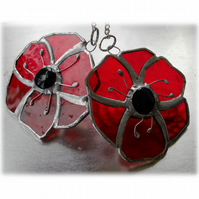 Poppy Suncatcher Stained Glass Small Handmade Red Flower 010 011