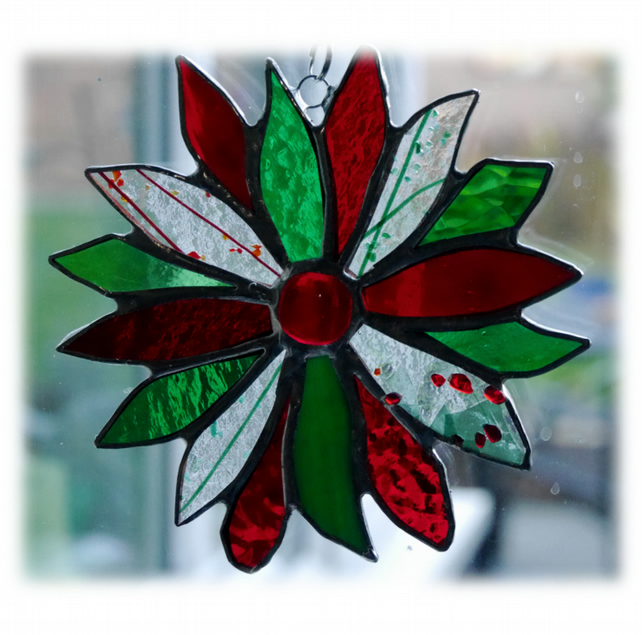 Holly Stained Glass Suncatcher Flower Christmas Decoration 005
