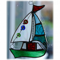 Boat Suncatcher Stained Glass Sailboat Yacht 057