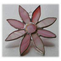 Pink Daisy Stained Glass Suncatcher Flower 046