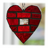 Love Heart Bricks Stained Glass Suncatcher Red 007