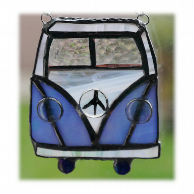 Campervan Suncatcher Stained Glass Blue Camping Holiday 033