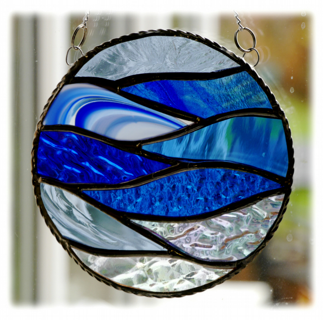 Making Waves Stained Glass Suncatcher Handmade Ring Sea 008
