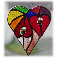 Heart of Hearts Suncatcher Rainbow Stained Glass 048