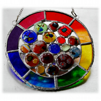 Rainbow Circles Suncatcher Stained Glass Handmade fused 014