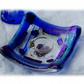 Earring Dish Fused Glass 6cm Blue Deep Heart Dichroic