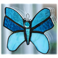 Butterfly Stained Glass Suncatcher Turquoise 053