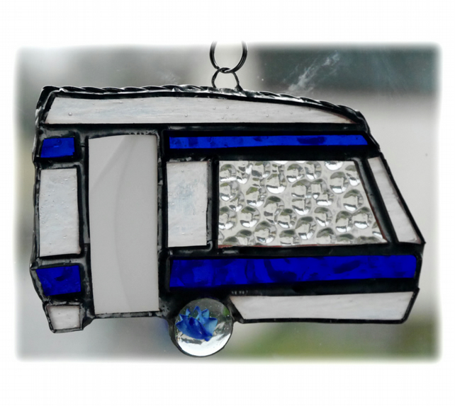 Caravan Suncatcher Stained Glass Classic Blue 040