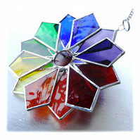 Rainbow Windmill Stained Glass Suncatcher Abstract