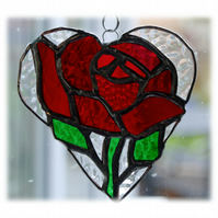 Red Rose Heart Suncatcher Stained Glass 012