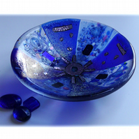 Fused Glass Bowl Round 12cm Blue Dichroic 028