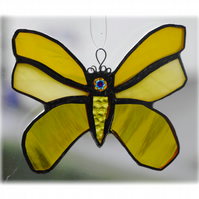 Butterfly Stained Glass Suncatcher Yellow 054