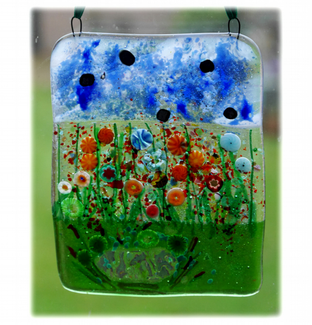 Flower Garden Picture Fused Glass 001