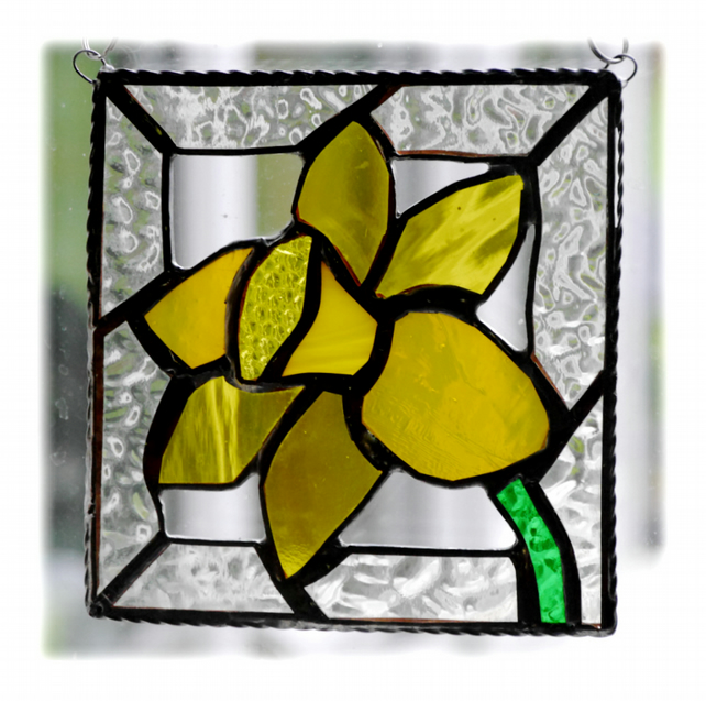 Daffodil Stained Glass Framed Suncatcher Spring Flower 019