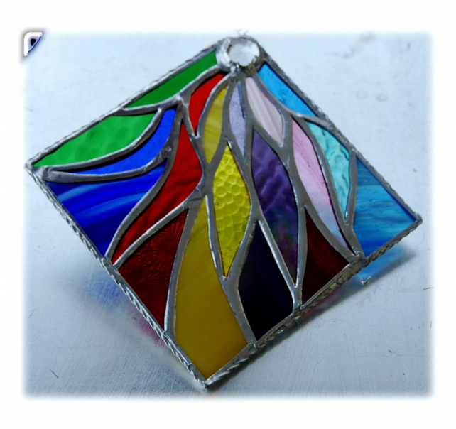 Ribbons Stained Glass Suncatcher Handmade 005