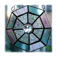 Octagon Suncatcher Stained Glass Crystal Abstract 006