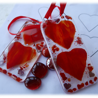Hearts Lightcatcher Fused Glass
