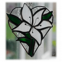 :Lily Heart Suncatcher Stained Glass