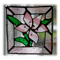 Lily Stained Glass Suncatcher Pink framed