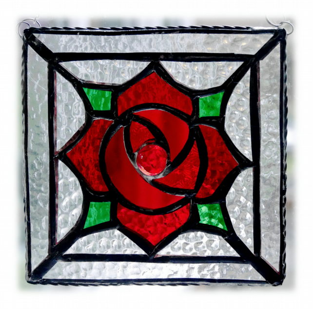 Machintosh Rose Square Stained Glass Suncatcher