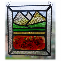 Poppy Mountain Picture Suncatcher Stained Glass Fusion 002