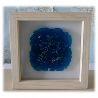 Fused Glass Abstract Turquoise Picture in Box Frame