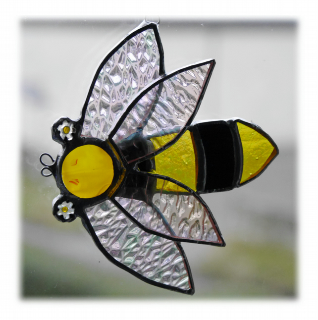 SOLD Bee Suncatcher Stained Glass Handmade Bumble Queen 018