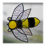 Bee Suncatcher Stained Glass Handmade Bumble Queen 018