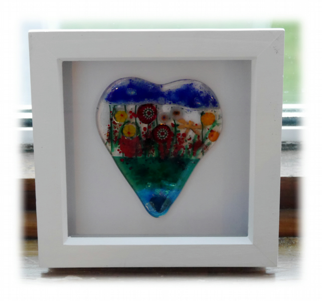 Flower Garden Heart in Box Frame Fused Glass Picture 002 004 005