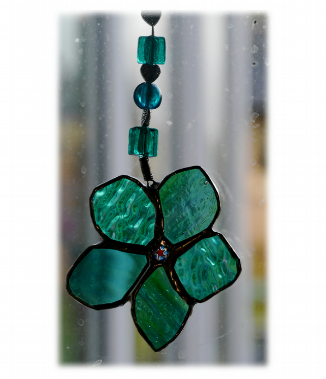 Flower Drop Suncatcher Stained Glass Aqua Beaded hearts 007