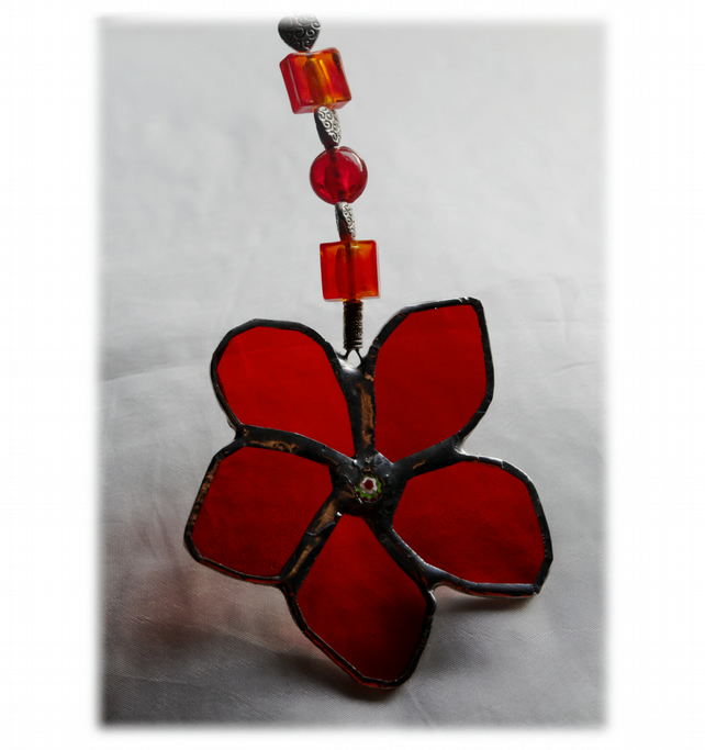 Flower Drop Suncatcher Stained Glass Red Beaded hearts 006
