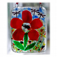 Dahlia Picture Fused Glass Flower 006