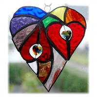 Heart of Hearts Suncatcher Rainbow Stained Glass 049