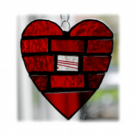 Love Heart Bricks Stained Glass Suncatcher Red 008