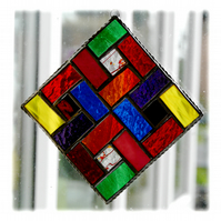 Colour Block Stained Glass Suncatcher Rainbow