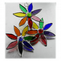 Rainbow Daisy Spray Suncatcher Stained Glass Flowers  3-D 003