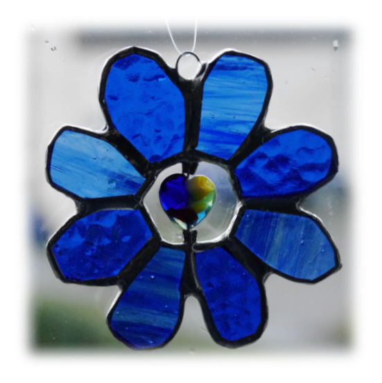 Daisy Stained Glass Suncatcher Flower Heart Bead