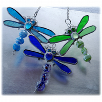 Trio of Dragonflies Stained Glass Suncatcher  005