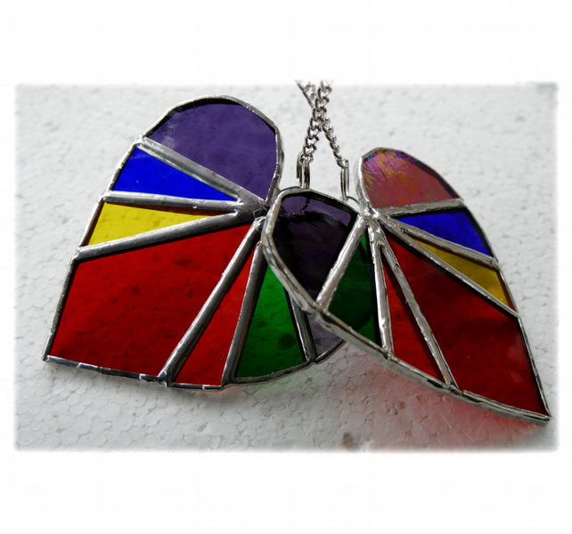 RESERVED Love Heart Rainbow Stained Glass Suncatcher 8cm