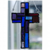 SOLD Cross Suncatcher Stained Glass Handmade Patchwork Purple 021