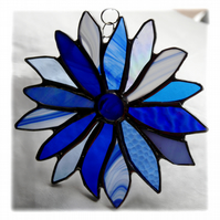 Winter Blues Flower Stained Glass Suncatcher Handmade 003