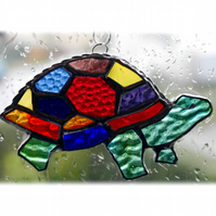 Suncatcher Stained Glass Tortoise Handmade Rainbow  016 Turtle